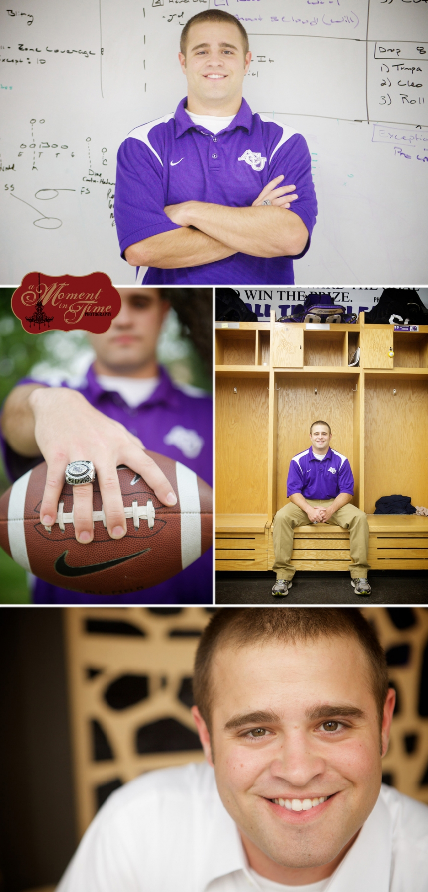 Bradley Bryant, senior at Abilene Christian University, or ACU, had senior photographer Jennifer Nieland of A Moment in Time Photography take his college senior portraits for graduation. Bradley helps with the Abilene Christian University football program, where they have won several LSC Conference Championships.