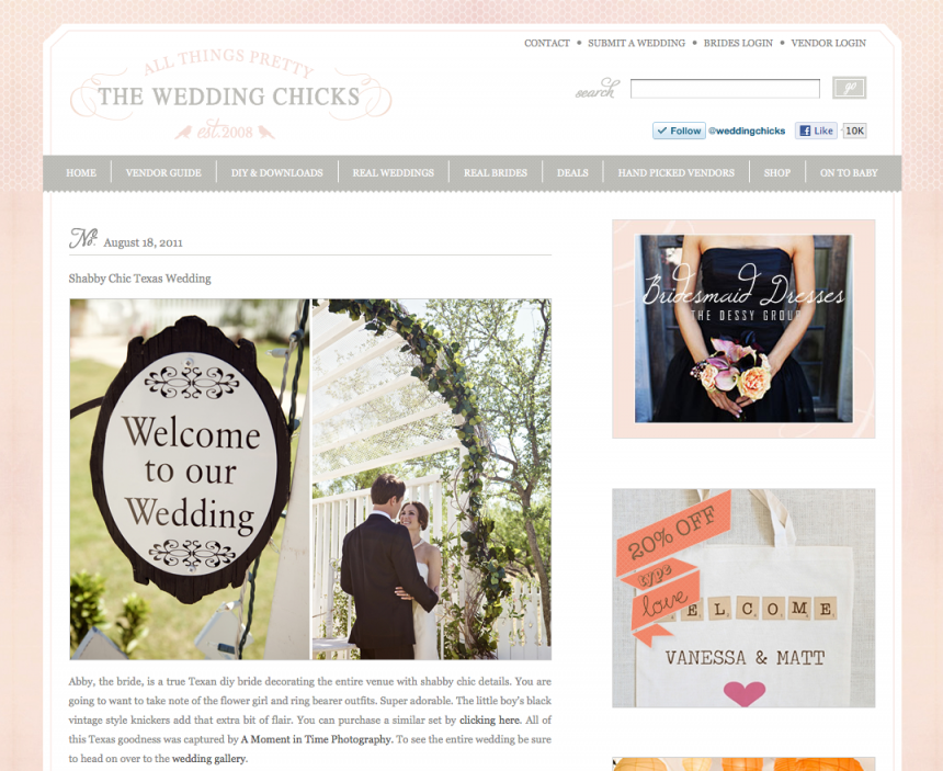 The wedding chicks of www.weddingchicks.com featured A Moment in Time Photography and Jennifer Nieland who photographed a vintage rustic wedding at Lytle Cove Cottage.