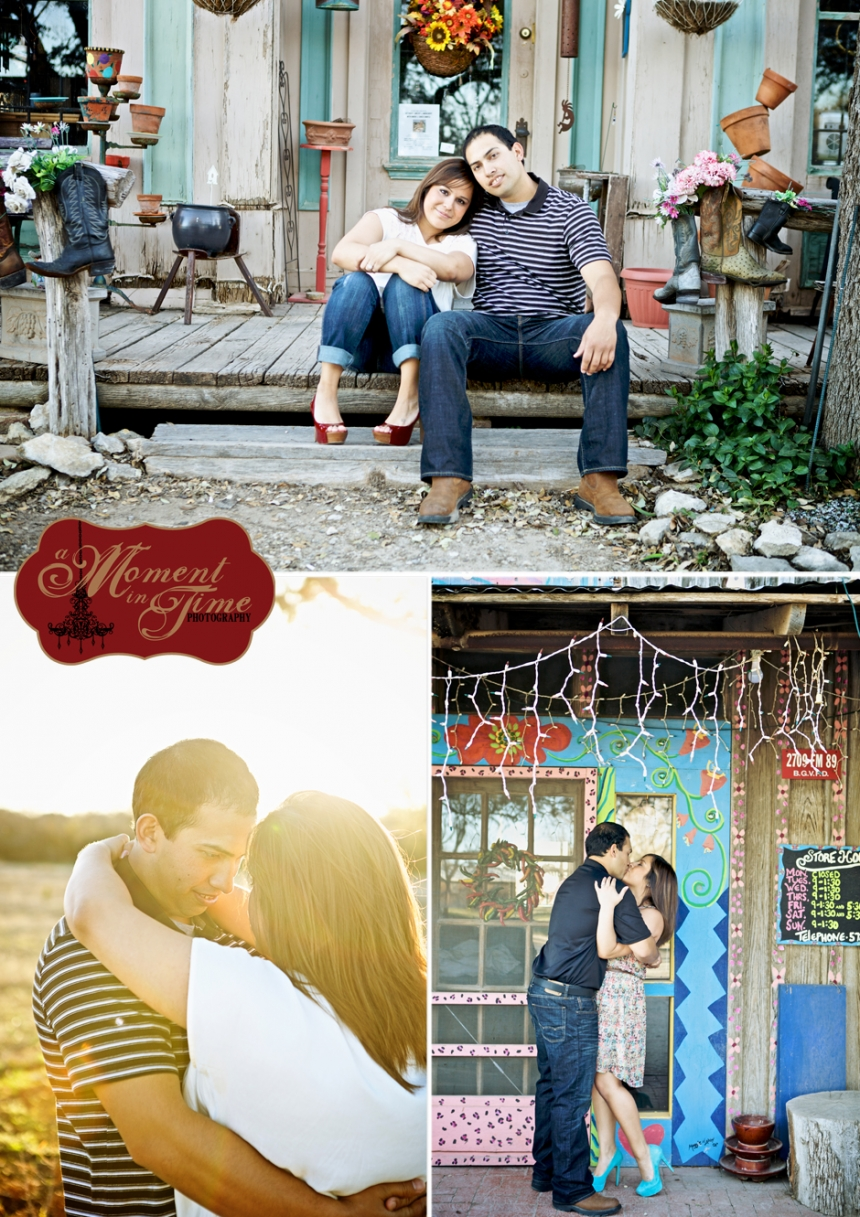 Abilene, Texas wedding photographer Jennifer Nieland of A Moment in Time Photography took Mario Estrada and Mandy Guererro, Mandy Estrada or Amanda Estrada, rustic engagement photos and vintage engagement photos out in Buffalo Gap, Texas. A Moment in Time Photography specializes in vintage wedding photography.