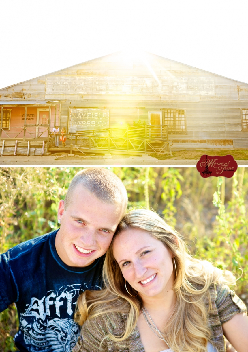 Danielle Burgess, now Danielle Bartling, and Brandon Bartling chose vintage rustic wedding photographer Jennifer Nieland of A Moment in Time Photography to take their vintage engagement photos with gorgeous engagement photos in Abilene, Texas.