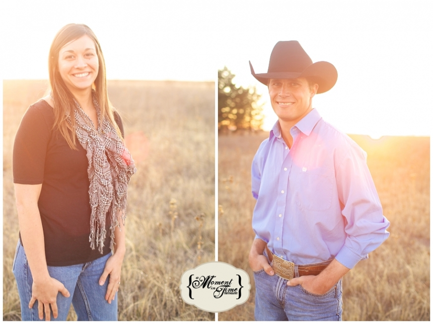 Justin Bell and Jackie Vrazel, now Jackie Bell, chose West Texas wedding photographer Jennifer Nieland of A Moment in Time Photography to shoot their vintage rustic engagement session with a burlap and lace wedding planned in Lubbock, Texas.
