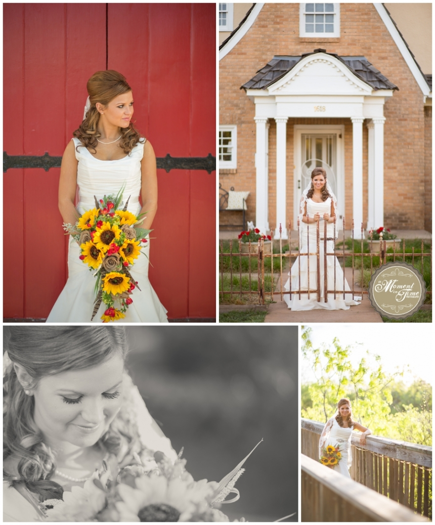 Layce Patterson chose A Moment In Time Photography by Jennifer Nieland to take her rustic birdal portraits. Some of her bridals were taken at Episcopal Church of Heavenly Rest. Lacye Tyler wore a dress from Davids Bridal and a veil from Davids Bridal with a sunflower bouquet