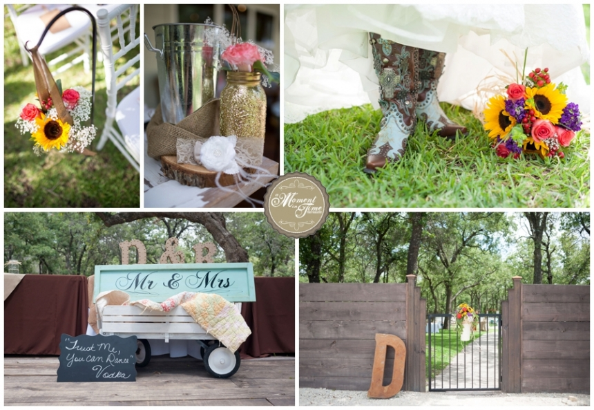 Randi and Don Davis Wedding, Randi Buxkemper now Randi Davis, summer wedding at the Grove at Denton Valley, rustic themed wedding, hay bails and boots wedding, mermaid style dress with train and veil, 4-D oil and gas management now 4-D oil and gas