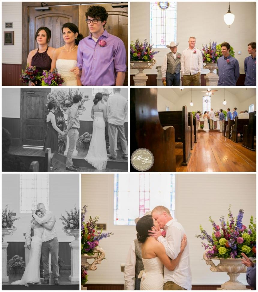 Hayley and Kyle Wedding, Wedding at Buffalo Gap Historical Village, reception at Perini Ranch, White chapel wedding, Texas chapel wedding, vintage chapel wedding, purple red and green bouquet, Kyle Stewart